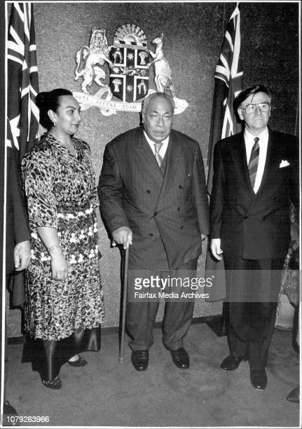 King of Tonga Taufa'ahau Tupou IV and Princess Salote Pilolevu attending a function for their arrival in Sydney at the Premiers Dept. Minister for...