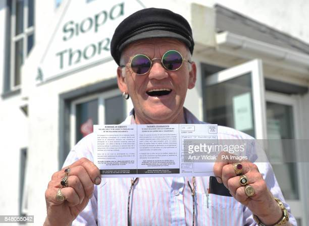 King of Tory artist and Musician Patsy Dan Mac Ruari votes in the EU Fiscal treaty referendum at the Pooling Station based in the St Colm cillie...