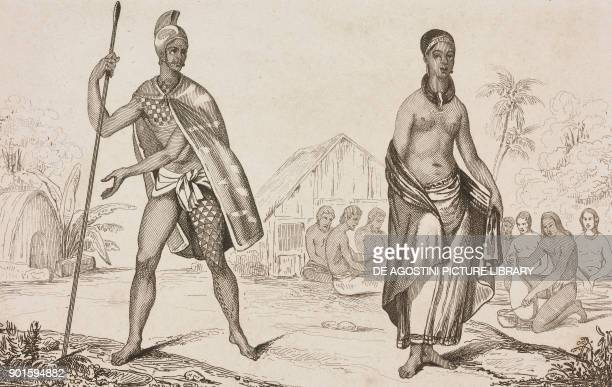 King officer Wife of a Hawaiian chief Hawaiian Islands engraving by Danvin and Montant from Oceanie ou Cinquieme partie du Monde Revue Geographique...