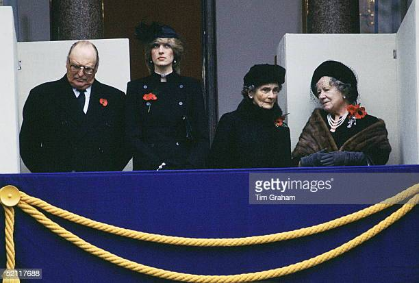 King Olaf Of Norway Princess Diana Princess Alice And The Queen Mother At The Cenotaph For Remembrance Day