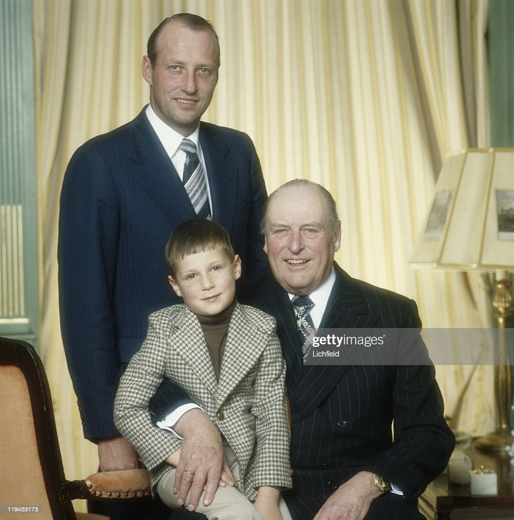 King Olav, Crown Prince Harald and Prince Haakon and of Norway, (l to r) Crown Prince Harald, Prince Haakon and King Olav of NorwayOslo, Norway (late King of Norway with his son and grandson - now King Harald and Crown Prince Haakon of Norway), 29th November 1978.