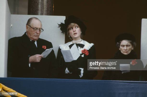 King Olav of Norway , Princess Diana , and Alice, Duchess of Gloucester during the Remembrance Sunday service at the Cenotaph, London, UK, 8th...
