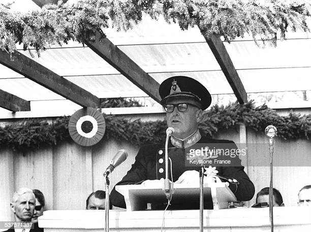 King Olav V making a speech duirng an inauguration in 1964 in Eidsvoll Norway