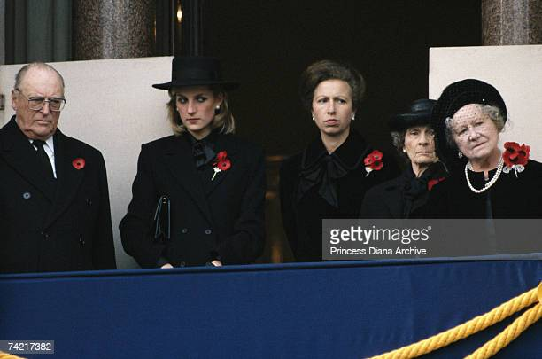 King Olav V of Norway Princess Diana Princess Anne Alice Duchess of Gloucester and The Queen Mother during the Remembrance Sunday service at the...