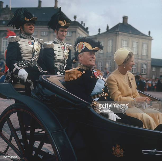 King Olav V of Norway with Queen Margrethe II of Denmark during a state visit to Denmark in February 1973