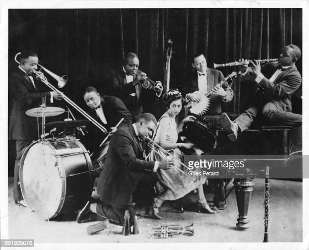 King Oliver and His Creole Jazz Band, studio group portrait, Chicago, 1923. Honore Dutrey, Baby Dodds, King Oliver, Louis Armstrong, Lil Hardin ,...