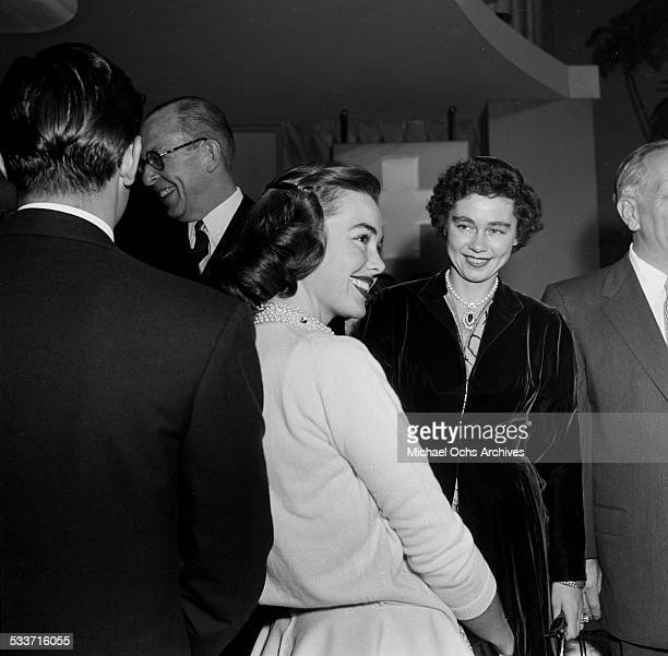 King Paul of Greece and Queen Frederica of Greece meet actress Barbara Rush on a studio tour in Los Angeles,CA.