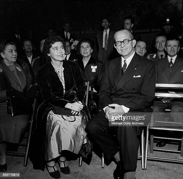 King Paul of Greece and Queen Frederica of Greece wait to be introduced in Los Angeles,CA.