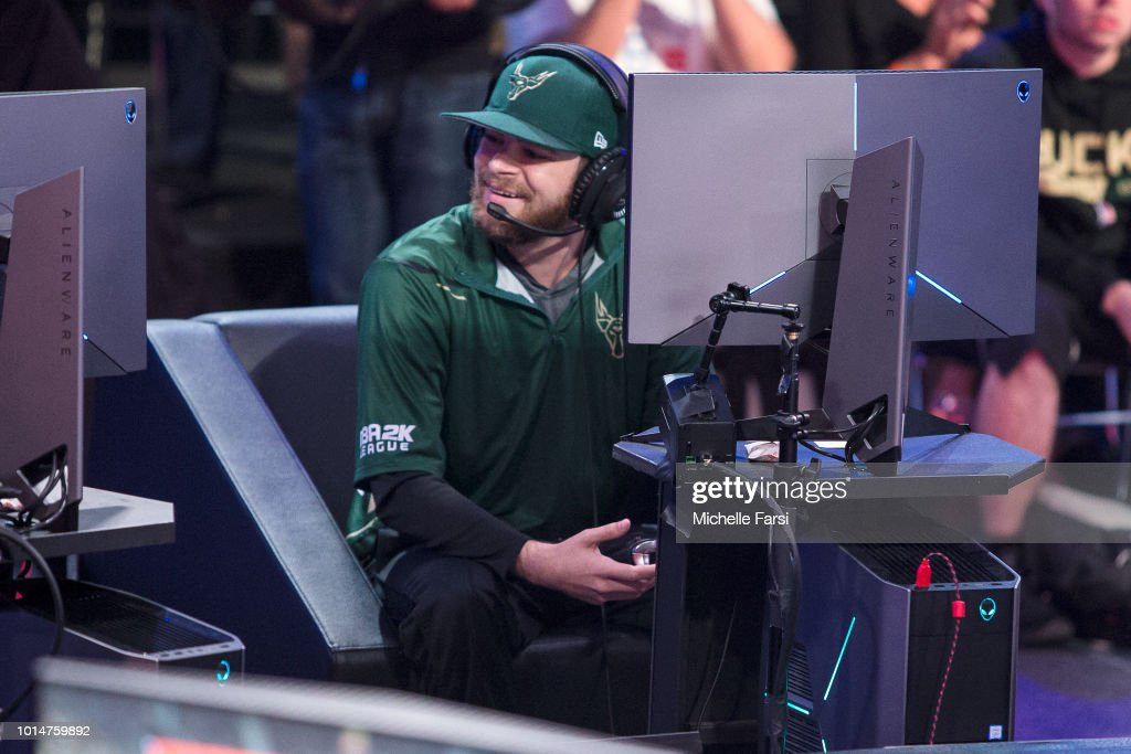 KinG PeroXide of Bucks Gaming laughs out loud during the game against Mavs Gaming during Week 12 of the NBA 2K League on August 10, 2018 at the NBA 2K Studio in Long Island City, New York.