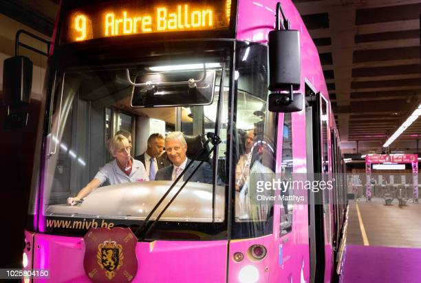King Philip of Belgium accompanied by local officials inaugurates the new tram 9 line on September 1 2018 in Brussels Belgium
