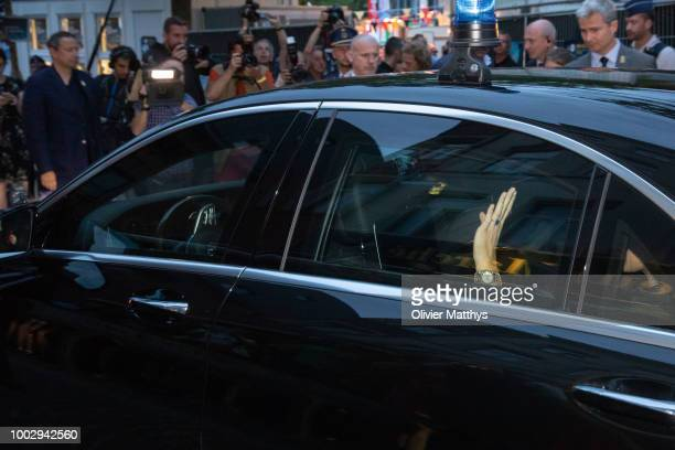 King Philip of Belgium and Queen Mathilde meet with Plastic Bertrand at the Bal Populaire at the Place Jeu de Balles on July 20 2018 in Brussels...