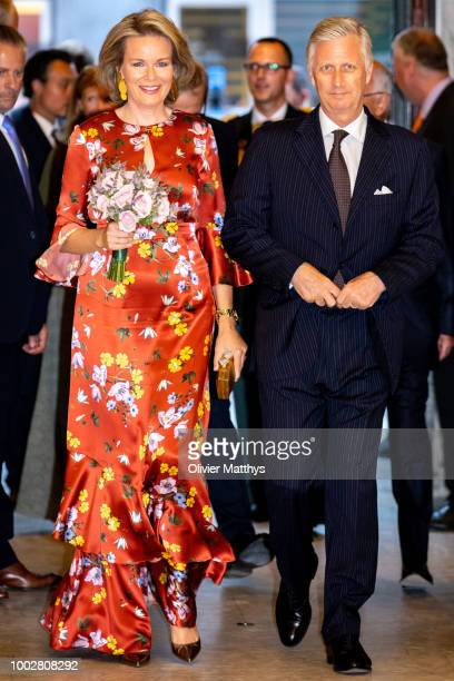 King Philip of Belgium and Queen Mathilde arrive prior to attend the Prelude to the National Day Concert at Palais des BeauxArts on July 20 2018 in...