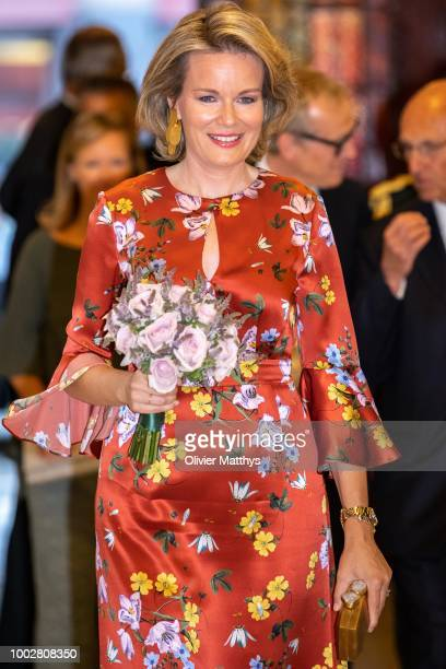 King Philip of Belgium and Queen Mathilde arrive prior to attend the Prelude to the National Day Concert at Palais des Beaux-Arts on July 20, 2018 in...