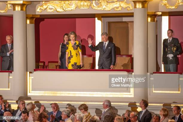 King Philip of Belgium and Queen Mathilde attend the Concert for the Queen Elisabeth Singing Contest 2018 at Palais des BeauxArts on June 4 2018 in...