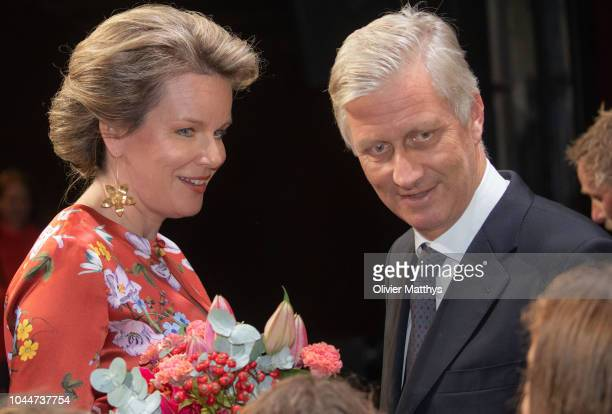 King Philip of Belgium and Queen Mathilde talk to performers on stage during the King Baudouin Support Council gala fundraiser evening in the city...
