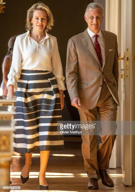 King Philip of Belgium and Queen Mathilde welcome the Red Devils the Belgium international football team after returning from Russia at the Royal...