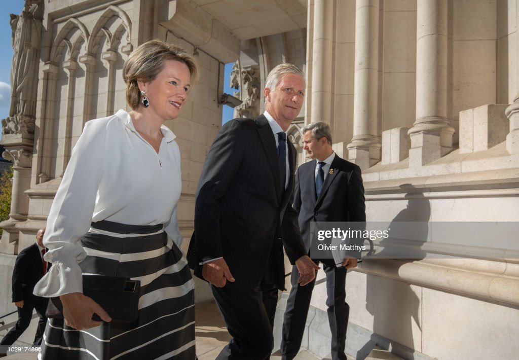 Belgium Royal Family Attends A Mass To Remember The 25th anniversary Of Late King Baudouin At Notre Dame Church In Laeken : News Photo