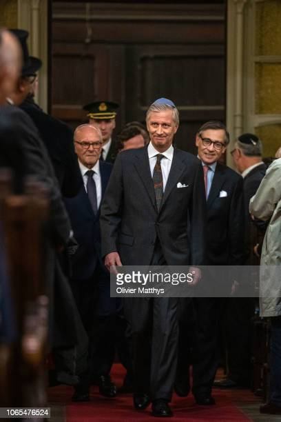 King Philip of Belgium attends a ceremony to commemorate the 140th anniversary of the Great Synagogue on November 26 2018 in Brussels Belgium