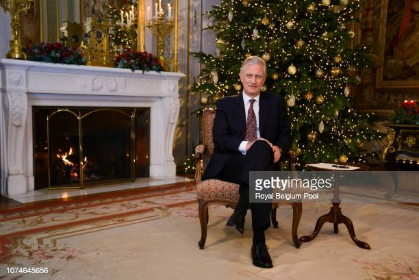 King Philip of Belgium delivers his Christmas Speech in his office at the Royal Laeken Castle on December 17 2018 in Brussels Belgium