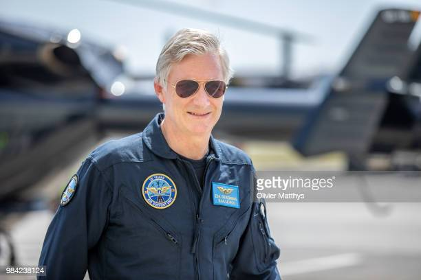 King Philip of Belgium flies an MD902 Explorer helicopter during a visit to the 25th Anniversary of the Federal Police Air Support Directorate in the...