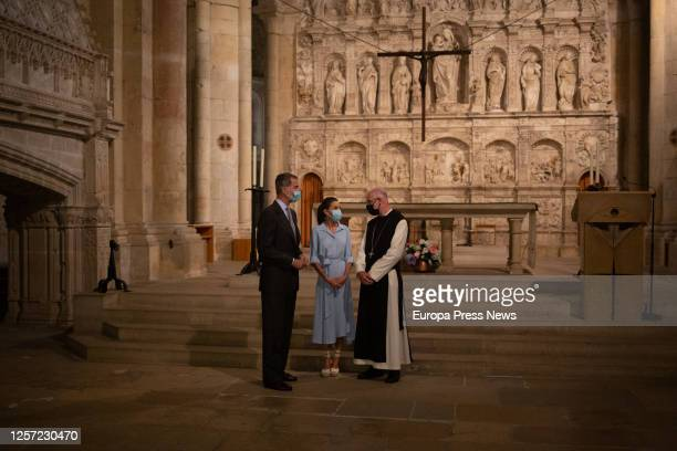 King Philip VI and Queen Letizia listen to the explanations of Abbot Octavi Vilà during his visit to the Monastery of Santa Maria de Poblet in...