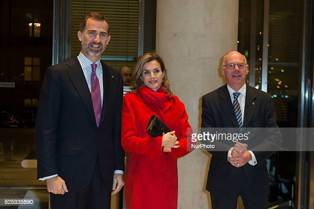 King Philip VI and Queen Letizia of Spain are received by the President of the German Bundestag Prof Dr Norbert Lammert during the visit to Berlin...