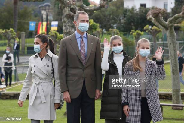 King Philip VI and Queen Letizia, together with Infanta Sofia and Princess Leonor visit Somao, which has been honoured as the 2020 Best Asturian...
