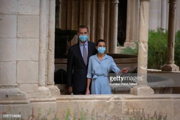 King Philip VI and Queen Letizia visit the Monastery of Santa Maria de Poblet in Vimbodí i Poblet Tarragona on Juny 20 2020 in Tarragona Cataluña...