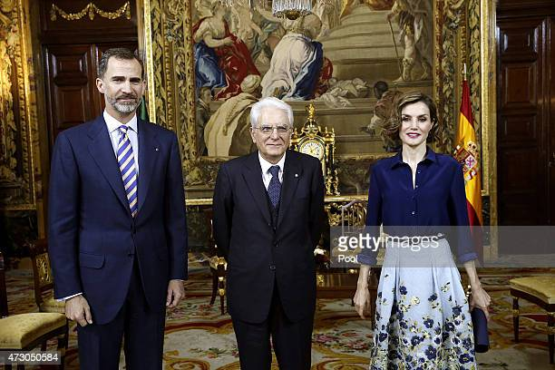 King Philip VI of Spain and Queen Letizia of Spain greet the president of Italy Sergio Mattarella during a reception at the Royal Palace on May 11...