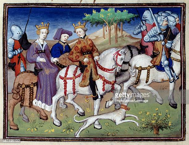 King Philip VI of Valois and the queen Blanche of Navarre going hunting Miniature from 'The Book of the Hunt' by Gaston III Phoebus Count of Foix...