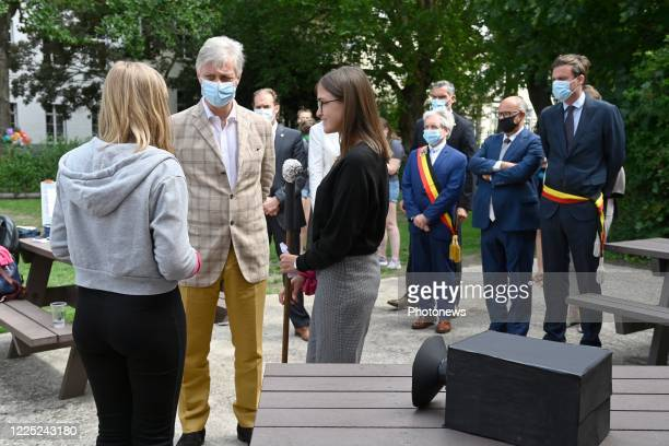 King Philip visits a language camp of vzw Roeland for 12 to 18 year olds in Ghent. The non-profit organization organizes language holidays for...