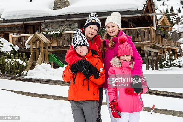 King Philippe and Queen Mathilde and their kids have one week vacation in Verbier Princes Elisabeth Prince Gabriel Prince Emmanuel and Princes...