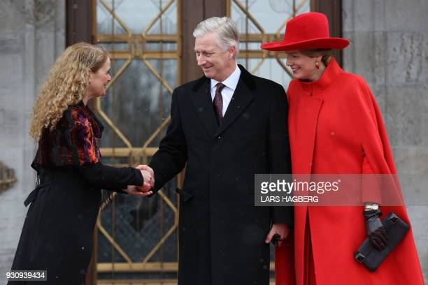 King Philippe and Queen Mathilde of Belgium are welcomed at Rideau Hall by Canadian Governor General Julie Payette in Ottawa Ontario on March 12 2018...