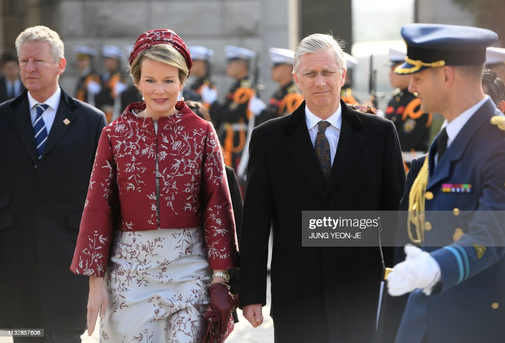 King Philippe and Queen Mathilde of Belgium arrive at the