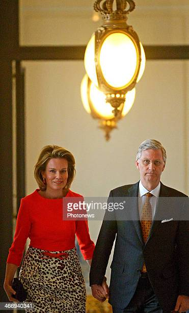 King Philippe and Queen Mathilde of Belgium arrive for a reception for heads of Belgian diplomatic missions abroad as part of the Diplomatic Contact...