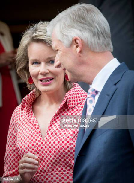 King Philippe and Queen Mathilde of Belgium attend the 80th birthday celebrations of Belgian Queen Paola on June 29 2017 in Waterloo Belgium The...