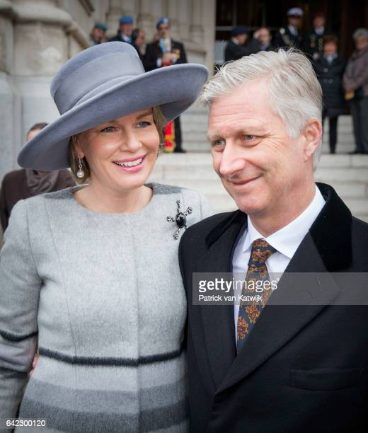 King Philippe and Queen Mathilde of Belgium attend the mass to commemorate the deceased members of the Belgian royal family at the Church of Our Lady...