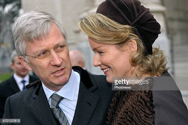 King Philippe and Queen Mathilde of Belgium leave a mass for the deceased of the Royal Family on February 18 2014 in Brussels Belgium