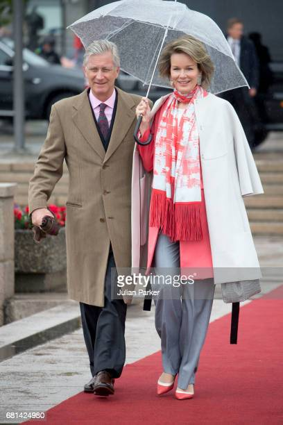 King Philippe and Queen Mathilde of Belgium leave to attend a lunch on the Norwegian Royal Yacht 'Norge' as part of the celebrations of the 80th...