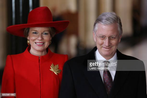 King Philippe and Queen Mathilde of Belgium pose for pictures after meeting with Government of Canada representatives on Parliament Hill during the...