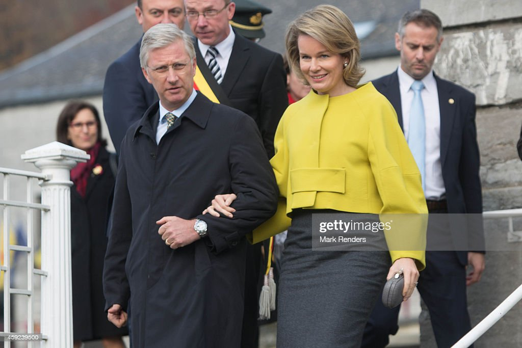 King Philippe and Queen Mathilde of Belgium visit Mathy by Bois in Couvin on November 19, 2014 in Namur, Belgium.