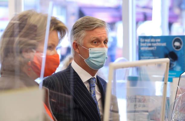 BEL: King Philippe Of Belgium And Queen Mathilde Of Belgium Visit The Pharma Haelvoet Pharmacy In Evere