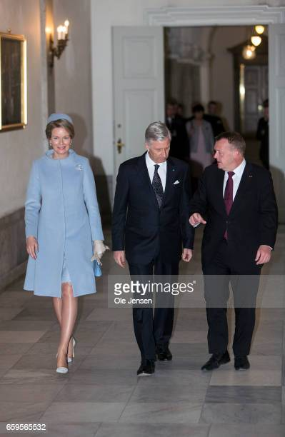 King Philippe and Queen Mathilde of Belgium visits Danish Prime Minister Lars Lokke Rasmussen at the PM's office at Christiansborg on March 28 2017...