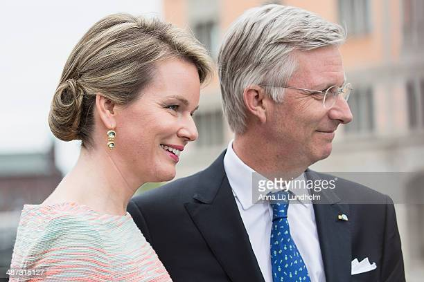 King Philippe and Queen Mathilde of Belgium visits the swedish Riksdag on April 29 2014 in Stockholm Sweden