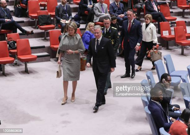 King Philippe and Queen Mathilde of the Belgium attend the Security Council meeting on children and armed conflict with a focus on integrating child...