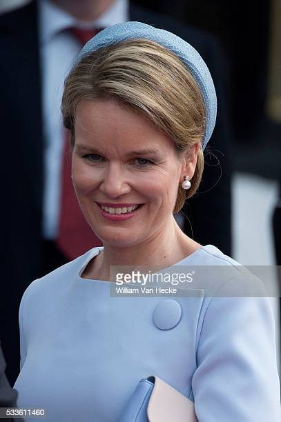 King Philippe and Queen Mathilde pictured attending the ceremony marking the 70th anniversary of the landing in Normandy. They will later attend the...