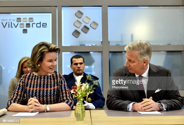 King Philippe and Queen Mathilde pictured during their visit of the province Flemish Brabant Queen Mathilde and King Philippe during the visit of the...