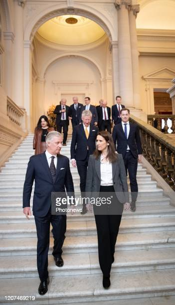 King Philippe Filip of Belgium and Belgian Prime Minister Sophie Wilmes pictured after the oath ceremony at the Royal Palace after Yesterday's Kern...