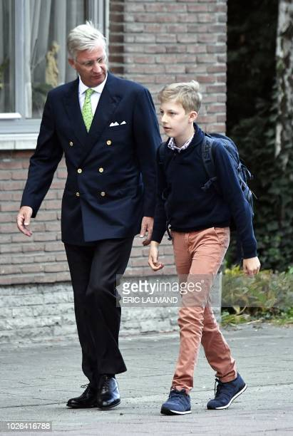 King Philippe Filip of Belgium and Prince Emmanuel arrive for the first day of the new school year at the Eureka school in KesselLo Leuven on...