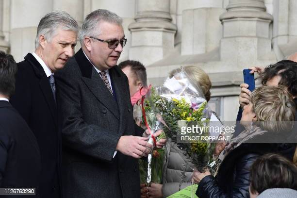 King Philippe Filip of Belgium and Prince Laurent of Belgium meet citizens after a special Mass to commemorate the deceased members of the Belgian...
